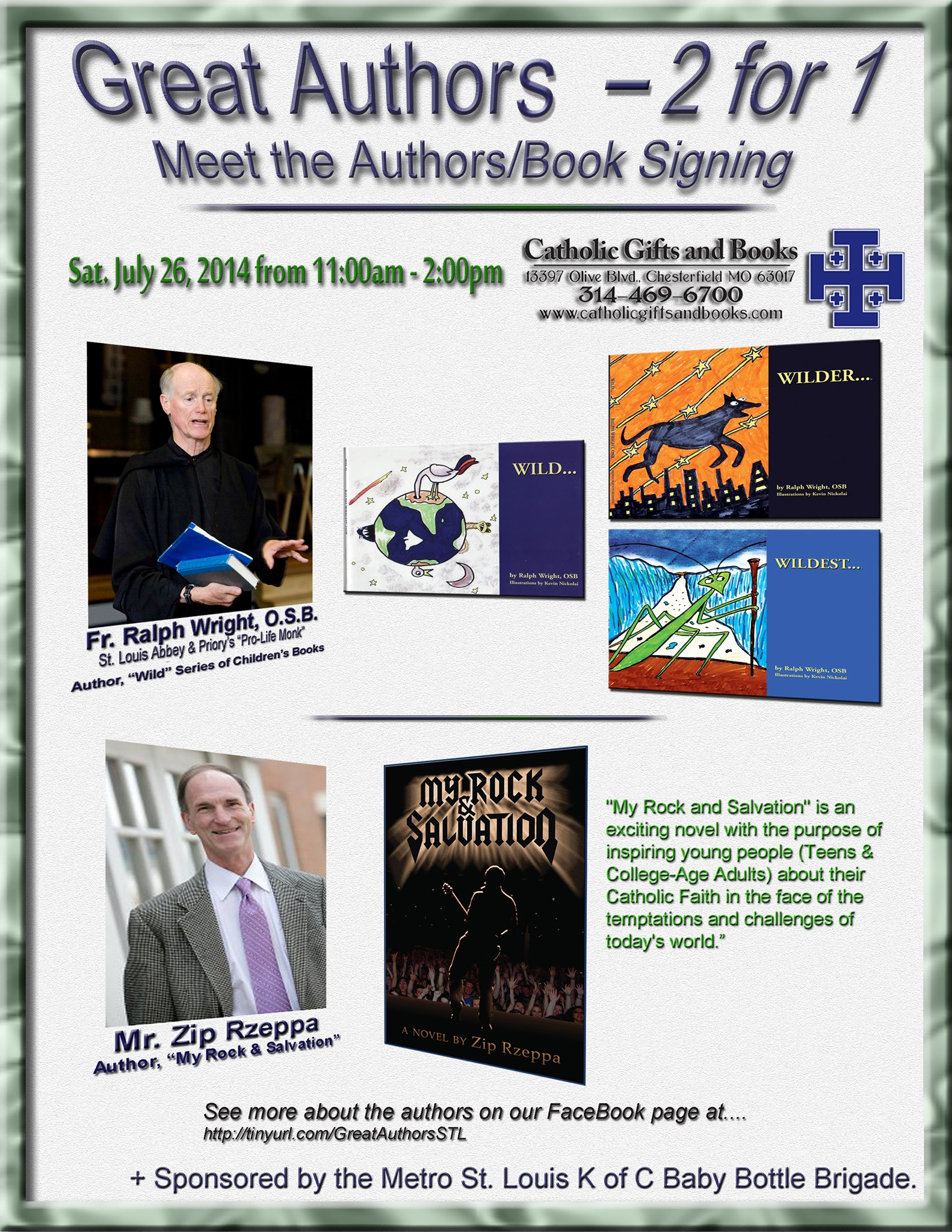 Fr. Ralph Wright, OSB & Zip Rzeppa Book Signing Flyer (2014)